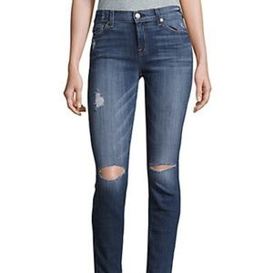 7 For All Mankind Ankle Skinny Knee Rip Jeans